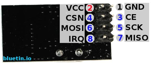 NRF24L01 Wireless Transceiver Pinout Back Side