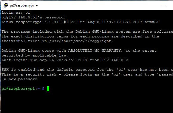 Raspberry Pi Login Screen Using PuTTY