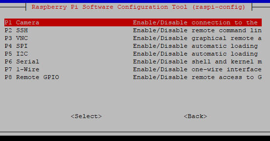 Raspberry Pi Configuration Interfacing Options