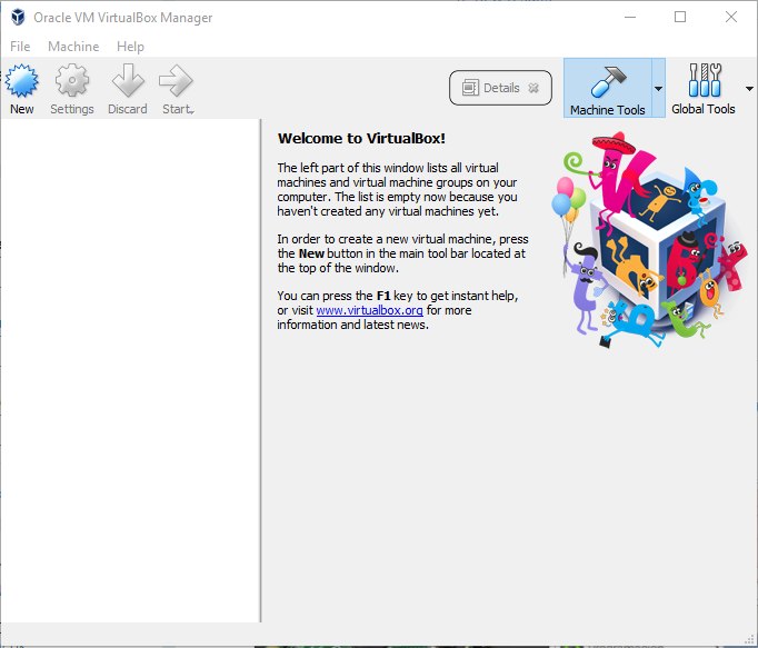 Oracle VM VirtualBox Manager Start Screen.