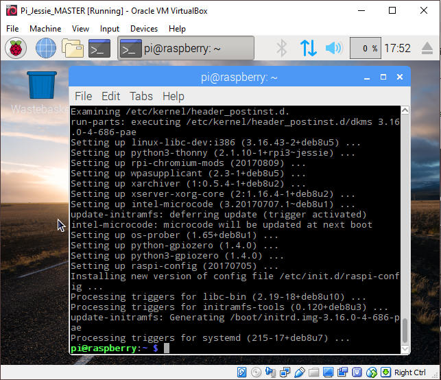Raspbian Virtual Machine Update and Upgrade
