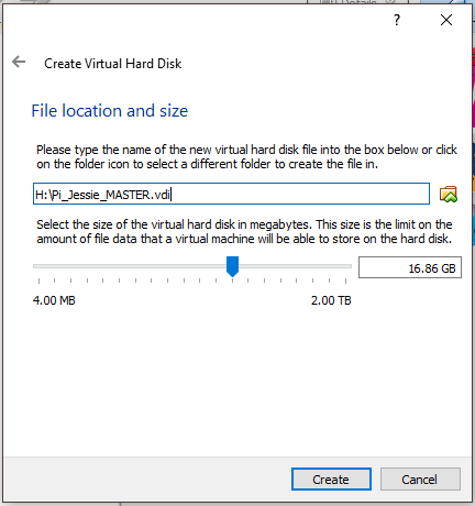 VM Choose File Location And Size