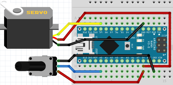 Arduino Potentiometer Servo Motor Test Circuit