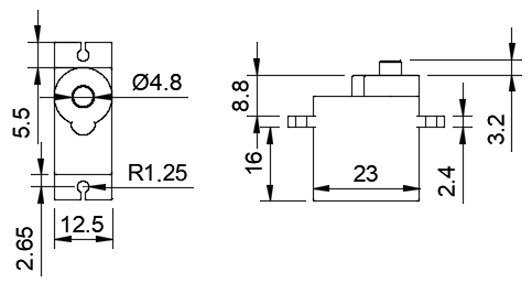 Micro Servo 9g Drawings and Dimensions