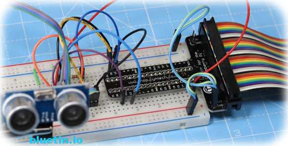 Breadboard with Raspberry Pi T-Cobbler - testing two sensors.