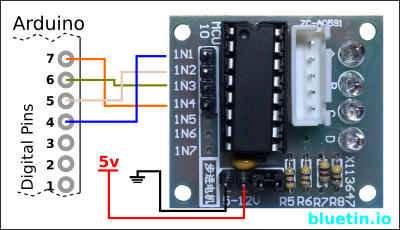 28BYJ-48 driver connection to Arduino