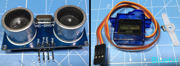HC-SR04 Ultrasonic Sensor and 9g micro servo